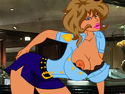 red head anime babe in glass deep throat action and cum facial